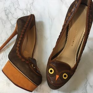 Charlotte Olympia Suede Owl Pumps